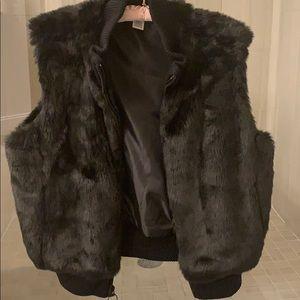 Ultra soft faux fur vest warm cozy stylish black